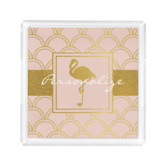 Flamingo Pink and Faux Gold Retro Pattern Modern Acrylic Tray