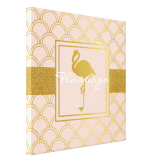 Flamingo Pink and Faux Gold Retro Pattern Modern Canvas Print