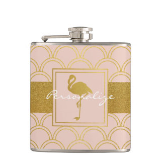 Flamingo Pink and Faux Gold Retro Pattern Modern Hip Flask