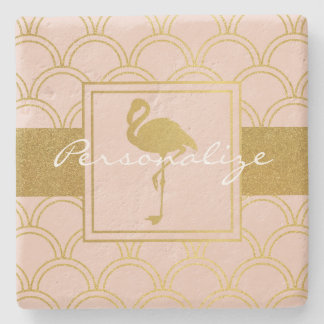 Flamingo Pink and Faux Gold Retro Pattern Modern Stone Coaster