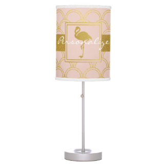 Flamingo Pink and Faux Gold Retro Pattern Modern Table Lamp