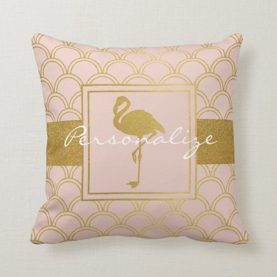 Flamingo Pink and Faux Gold Retro Pattern Modern Throw Pillow