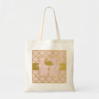 Flamingo Pink and Faux Gold Retro Pattern Modern Tote Bag
