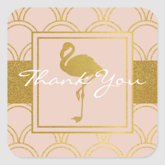 Flamingo Pink and Faux Gold Vintage Thank You Square Sticker