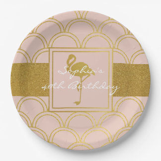Flamingo Pink and Gold Retro Birthday Party Modern Paper Plate