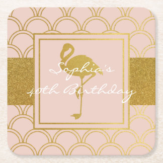 Flamingo Pink and Gold Retro Birthday Party Modern Square Paper Coaster