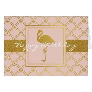 Flamingo Pink and Gold Retro Modern Happy Birthday Card