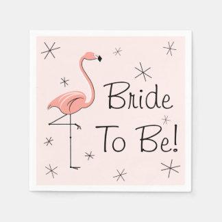 Flamingo Pink Bride to Be! paper napkins