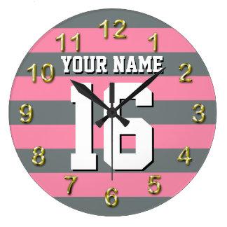 Flamingo Pink Charcoal Team Jersey Preppy Stripe Wall Clock