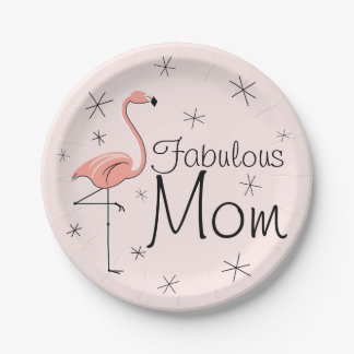 Flamingo Pink Fabulous Mom paper plate