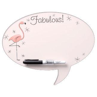 "Flamingo Pink ""Fabulous!"" oval speech bubble Dry-Erase Whiteboard"