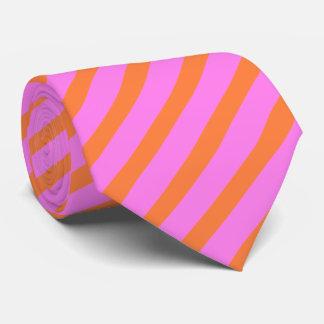 Flamingo Pink & Orange Smart Stripe Patterned Tie