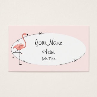 Flamingo Pink oval business card