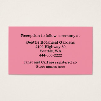 Flamingo Pink Wedding Information Card