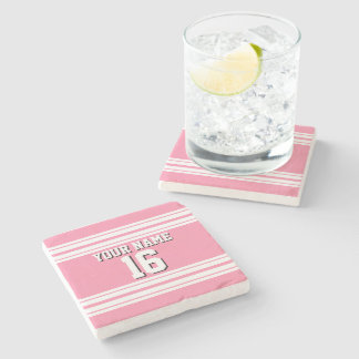 Flamingo Pink White Team Jersey Custom Number Name Stone Coaster