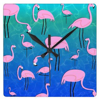 Flamingo Pond Square Wall Clock