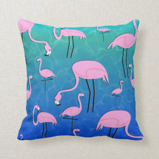 Flamingo Pond Throw Pillow