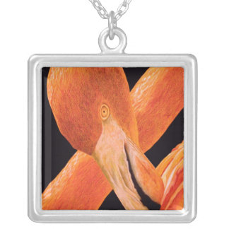 Flamingo Portrait Silver Plated Necklace
