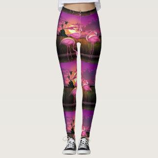 Flamingo print leggings