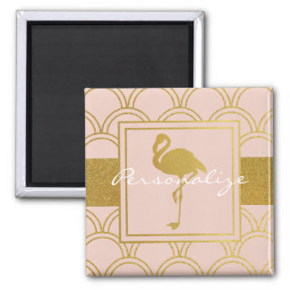 Flamingo Retro Pink and Faux Gold Modern Vintage Square Magnet