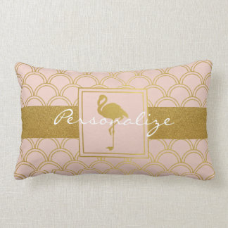 Flamingo Retro Pink and Faux Gold Personalized Lumbar Pillow