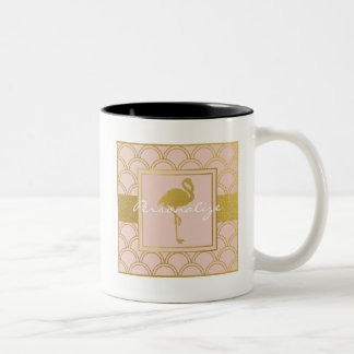 Flamingo Retro Pink and Faux Gold Vintage Two-Tone Coffee Mug
