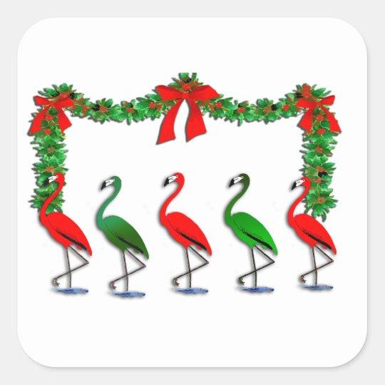 Flamingo Rockettes Dancing Show Square Sticker