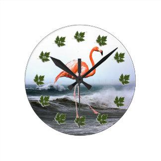 Flamingo Round Clock