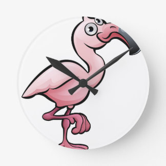 Flamingo Safari Animals Cartoon Character Wallclocks