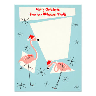 Flamingo Santas Blue Text letterhead