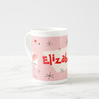 Flamingo Santas Pink Name bone china Tea Cup