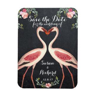 Flamingo save the date chalkboard rectangular photo magnet