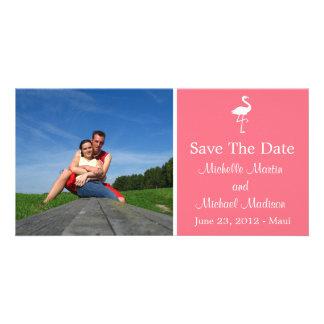 Flamingo Save The Date Photocard (Salmon) Photo Greeting Card