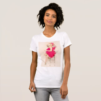 Flamingo Showgirl Pinup Fitted T-shirt