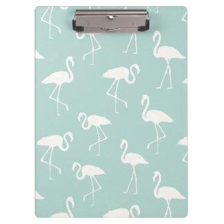 Flamingo Silhouettes, Pattern Of Flamingos - Blue Clipboard