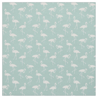 Flamingo Silhouettes, Pattern Of Flamingos - Blue Fabric