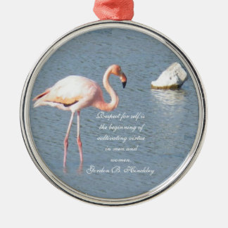 Flamingo Silver-Colored Round Ornament