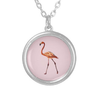 Flamingo Silver Plated Round Necklace