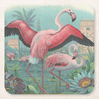 Flamingo Square Paper Coaster