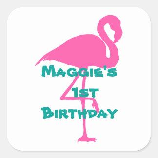 Flamingo stickers-Customize Square Sticker