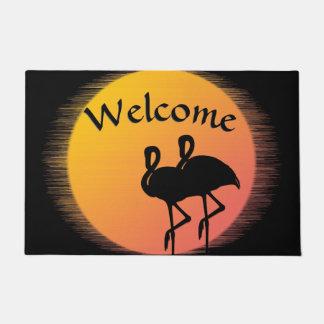 Flamingo Sunset Welcome Mat