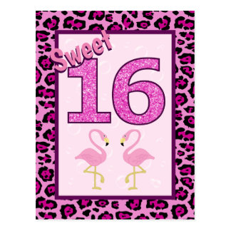 Flamingo Sweet Sixteen Birthday Postcard