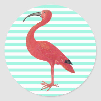 Flamingo & Teal stripes - Fine Art Sticker