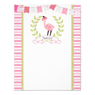 "Flamingo Thank You Card *Can Personalize* 4.25"" X 5.5"" Invitation Card"