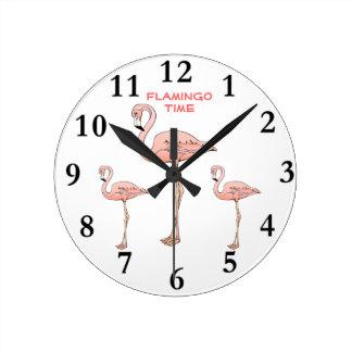 FLAMINGO TIME, 3 Pink Flamingo Birds Wall Clocks