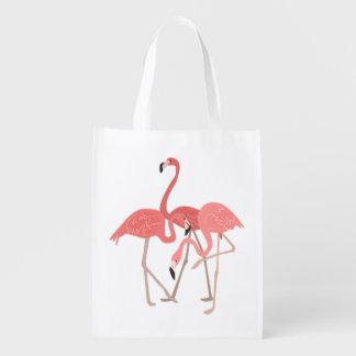 Flamingo Trio Grocery Bag