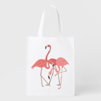 Flamingo Trio Reusable Grocery Bag