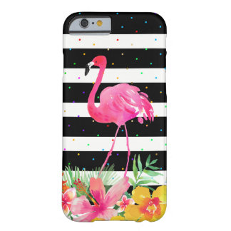 Flamingo &Tropical Bouquet With Black Stripes Barely There iPhone 6 Case