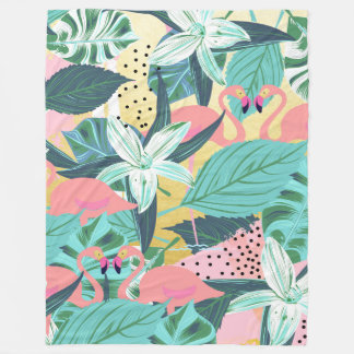 Flamingo Tropical Fleece Blanket