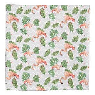 Flamingo Tropical Leaf Beach Chevron Stripe Decor Duvet Cover